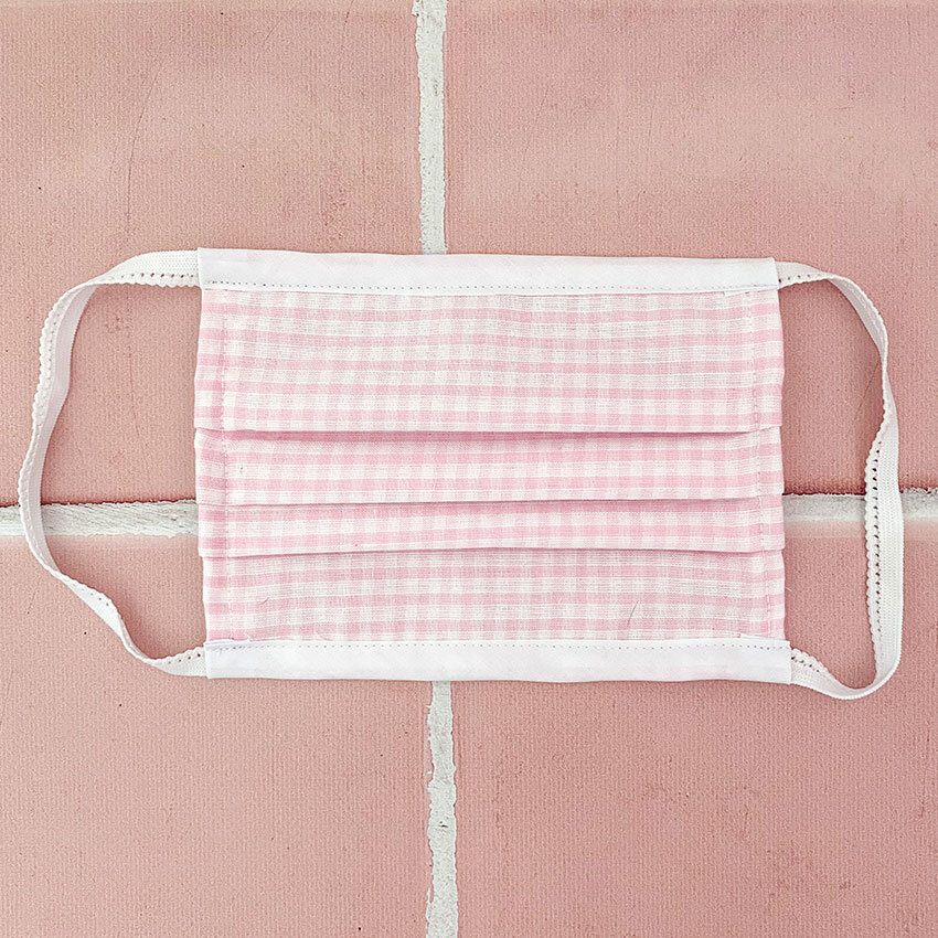 bettyquette pink gingham reusable face mask