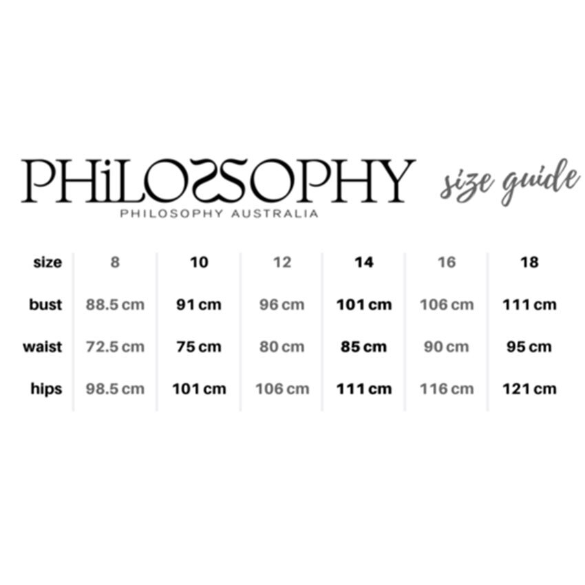philosophy size guide